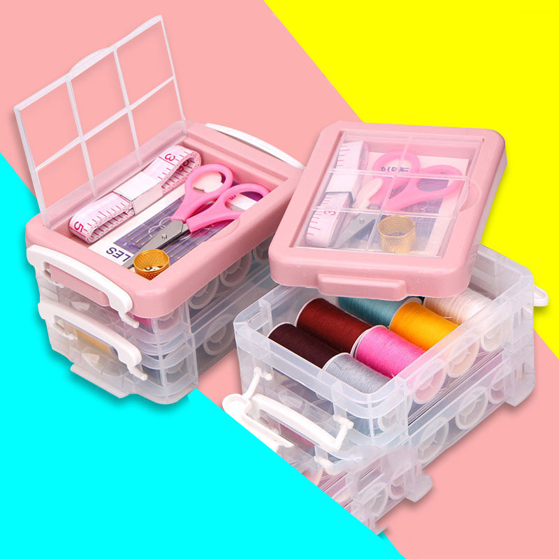 30Pcs High-grade Sewing Box Home Portable Travel Dormitory Set Sewing Kit Sewing Thread Multi-function Multi-layer Storage Box
