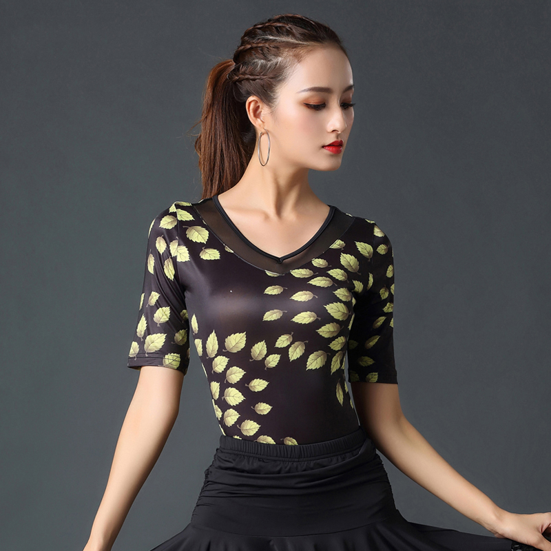 National Standard Dance Costume New Female Adult Ballroom Dance Shirt Latin Dance Tops Competition/Performance Dance Clothes