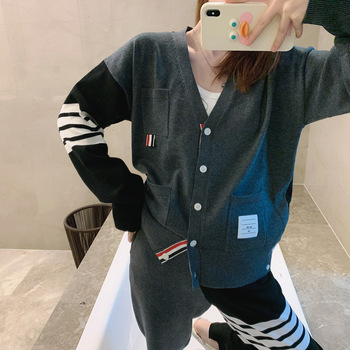 2021new fashion TB thom color matching female four-bar British style pocket design knitted jacket striped footwear two-piece set color matching striped snap button up jacket