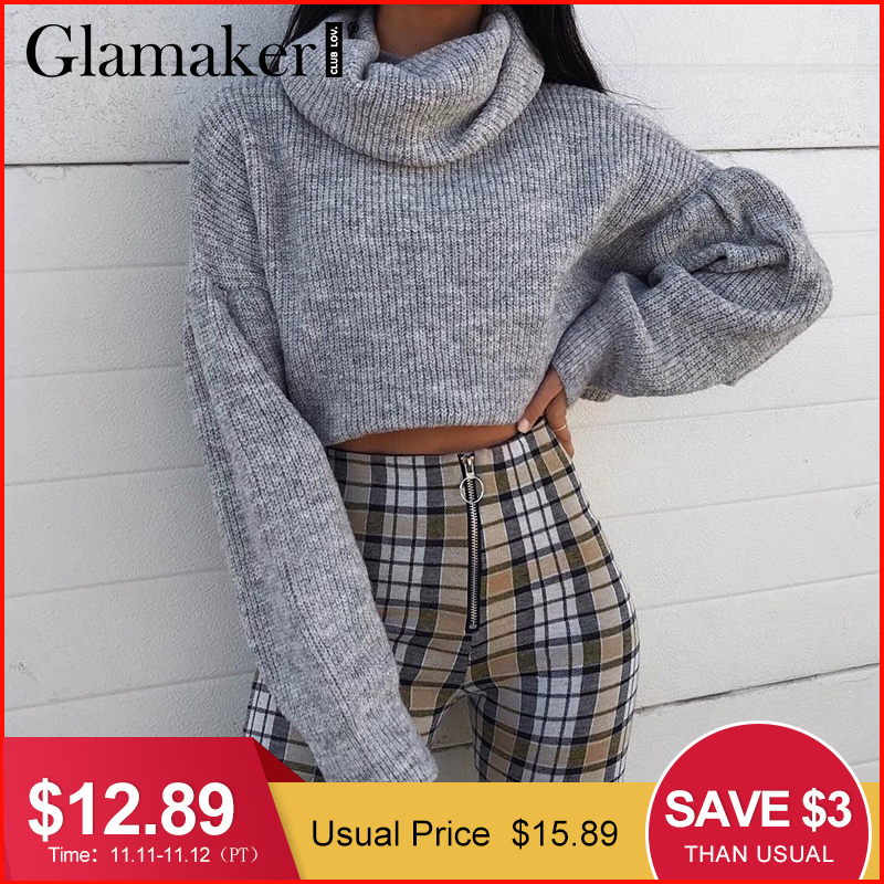 Glamaker Grey knitted turtleneck crop sweater Women autumn pull short sweater ladies jumper winter Female pull knitwear pullover