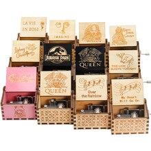 Música tema canção de madeira antigo mão dobrado caixa de música rainha padrinho davy jones presente natal caixão decoração