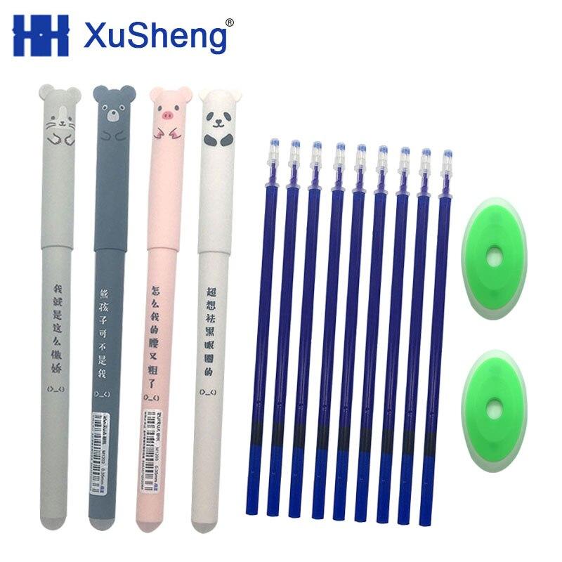 26pcs Kawaii Panda Erasable Pen 0.5mm Blue Black Cat Gel Pen Refill Washable Pen Rods For Handle Office School Stationery