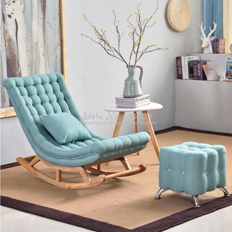21%European Leisure Happy Rocking Chair Chaise Longue Balcony Rocking Chair Single Sofa Chair Siesta Chair Recliner