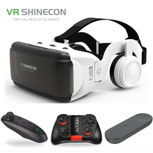 New VR Shinecon II 2.0 Helmet Cardboard Virtual Reality Glasses Mobile Phone 3D Video Movie for 4.7-6.0 Smartphone with Gamepad