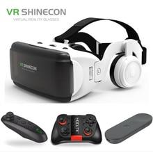 """새로운 VR Shinecon G06E 3D 안경 휴대 전화 비디오 영화 4.7 6.0 """"헬멧 골판지 가상 현실 스마트 폰 게임 패드"""