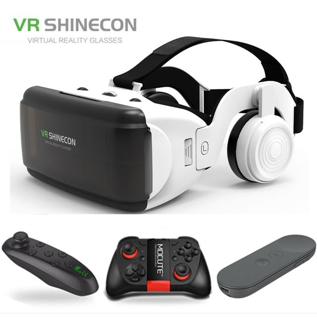 "VR Shinecon ใหม่ G06E 3D แว่นตาโทรศัพท์มือถือวิดีโอสำหรับ 4.7 6.0 ""กระดาษแข็ง Virtual Reality Smartphone ด้วย Gamepad"