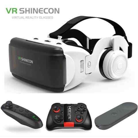 Óculos de Vídeo do Telefone Smartphone com Gamepad Filme para 4.7-6.0 Novo Shinecon Móvel Capacete Papelão Realidade Virtual vr G06e 3d
