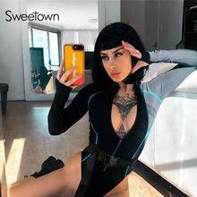 Sweetown czarny długi rękaw jesień Body linii śladu zamek ciała kobiety Gothic Sexy klamra szarfy Bodycon Body zimowe