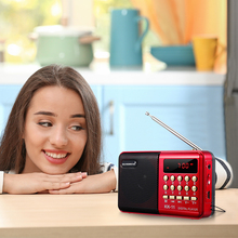 VicTsing K11 Portable Mini Radio  USB TF MP3 Player 3W FM Radio Rechargeable Radio Speaker With Sound Loud for Parents' Gift mini portable fm radio stereo speaker mp3 music player double loudspeaker with tf card usb disk input gift for parents