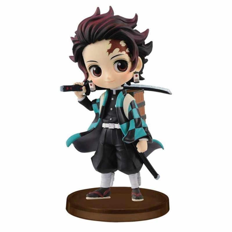 3Pcs Anime Model Patung Demon Slayer Kimetsu Tidak Yaiba Q Posket Kamado Tanjirou Kamado Nezuko Action Figure Mainan Hadiah