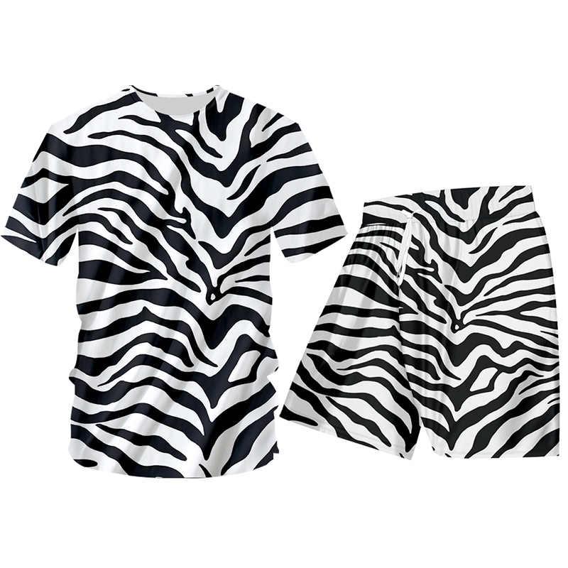 OGKB 얼룩말 줄무늬 2 조각 세트 남자 Hoodies + Sweatpants 플러스 크기 캐주얼 3D 동물 인쇄 느슨한 피트 니스 Tracksuits 옷