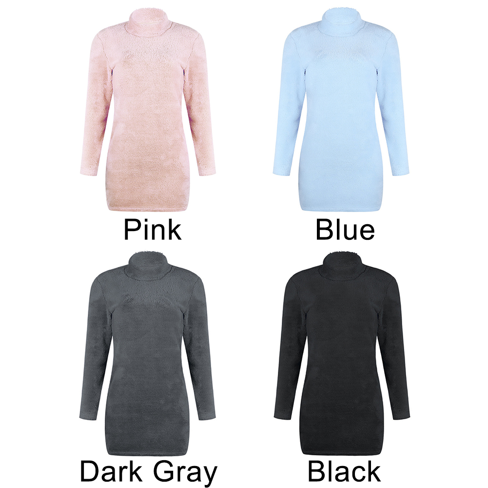 Sexy Long Sleeve Women Dress Tops Solid Mini Bodycon Jumper Short Winter Casual Plush Party Fluffy Sweater Fashion in Dresses from Women 39 s Clothing