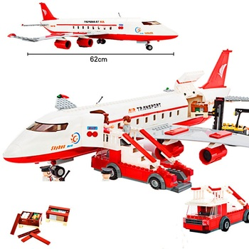 GUDI City Plane Airplane Sets Building Blocks Passenger Airport Station Air Bus Car Figure Model Compatible Friends Bricks Toys new city police fire station truck spray water gun firemen car building blocks sets bricks model kids toys compatible legoes