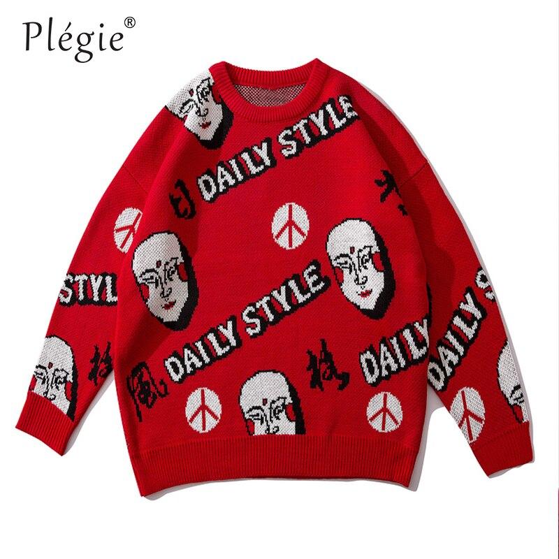 Свитера для мужчин с буквенным принтом, вязаный мужской пуловер, свитера с круглым вырезом, улучшенный хип-хоп, унисекс, casaco masculino, уличная од...