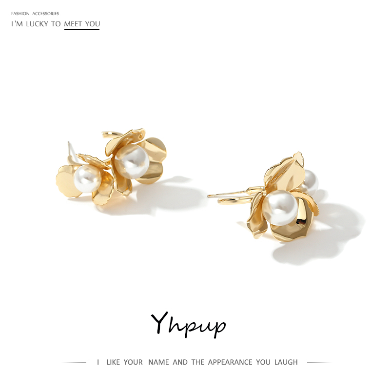 Yhpup Fashion Elegant Flower Stud Earrings Imitation Pearls Copper Gold Earrings Statement Beauty Jewelry For Women Party Gift