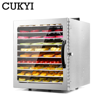 CUKYI 10 Trays Food Dehydrator Stainless Steel Snacks Dehydration Dryer Fruit Vegetable Herb Meat Drying Machine 110V 220V EU US