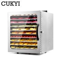 Cukyi 10 bandejas de aço inoxidável desidratador alimentos lanches desidratação secador frutas vegetal erva carne máquina secagem 110 v 220 v ue eua|Desidratadores| |  -