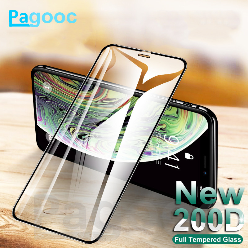 200D Full Curved Protective Tempered Glass On The For IPhone X XS XR Glass 11 Pro Max 7 6 6S 8 Plus Screen Protector Film Case