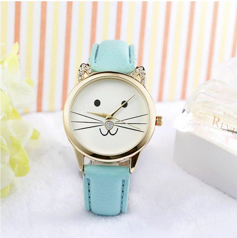 Children's Watch Fashion Casual Girl Watch Kids Cute Genuine Leather Strap Cat Watches Children Quartz Wristwatch Clock