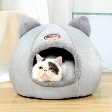 Conforto bonito gato cama dobrável removível pet filhote de cachorro gaiola lounger inverno auto aquecimento dormir esteira para interior gato casa cesta