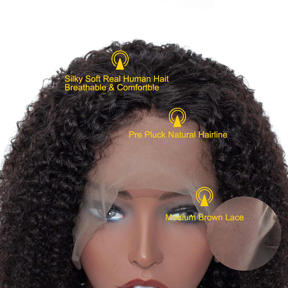 Ali BFF Wigs Brazilian Deep Curly Lace Front Wig Pre Plucked 360 Lace Frontal Wigs Remy Hair Kinky Curly Human Hair Wigs