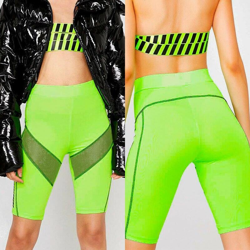 Womens Stretch Biker Bike High Waist Shorts Workout Spandex Leggings Knee Length S M L XL