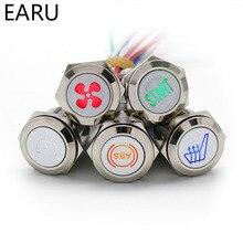 Хромированный металлический кнопочный переключатель, светодиодный светильник «сделай сам», логотип, символ, значок, сигнал, настройка, вод...