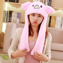 Cartoon Plush Animals Hat with Moving Ears Cute Funny Cap Hat with Movable Ears for Child Birthday Children's Party Best Gifts