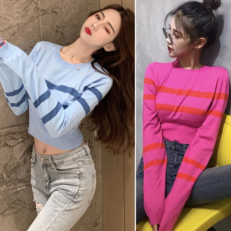 Women Sweaters And Pullovers Korean Loose Thin Women Knitted Sweaters Stripe Short Pullover Long Sleeve Exposure Belly Sweater