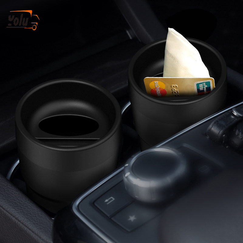 YOLU Multifunctional Car Mini Card Coin Tissue Coin Holder PlasticBox Trash Bin Container Universal For All Cars
