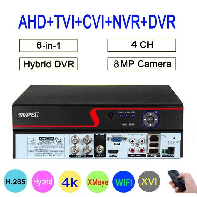 Czerwony Panel Hi3521D Xmeye Audio 4K 8MP 4CH 4 kanałowy H.265 + hybrydowy 6 w 1 XVI TVI CVI NVR AHD CCTV DVR nadzór wideorejestrator