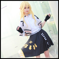 Hight Quality Anime Aotu World King Sex Reversal Woman Cosplay Costume Shirt + Tippet + Skirt + Golves + Wristlet + Elf Ears