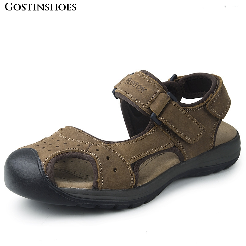 Sandles Men Summer Sandals Genuine Leather Hollow Out Closed Toe Casual Fashion Mens Sandals Summer Sandales Homme