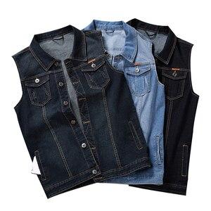 Image 1 - Plus Größe 8XL 7XL 6XL 5XLCotton Jeans Ärmellose Jacke Weste Männer Denim Jeans Weste Männlichen Cowboy Freien Weste Herren jacken