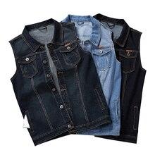 Plus Size 8XL 7XL 6XL 5XLCotton Jaqueta Jeans Sem Mangas Homens Colete Jeans Colete Masculino Colete Colete de Cowboy Ao Ar Livre Dos Homens jaquetas