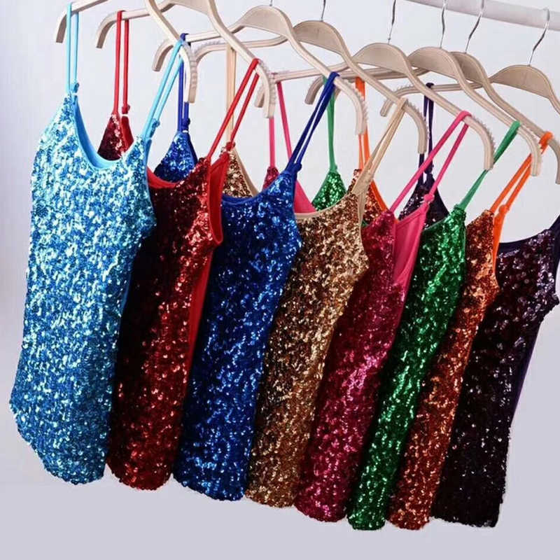 Vrouwen Tank Top Sequin Glitter Strappy Tank Tops Dames Sexy Party Outfits Vest Clubwear Night Tanks Shirt