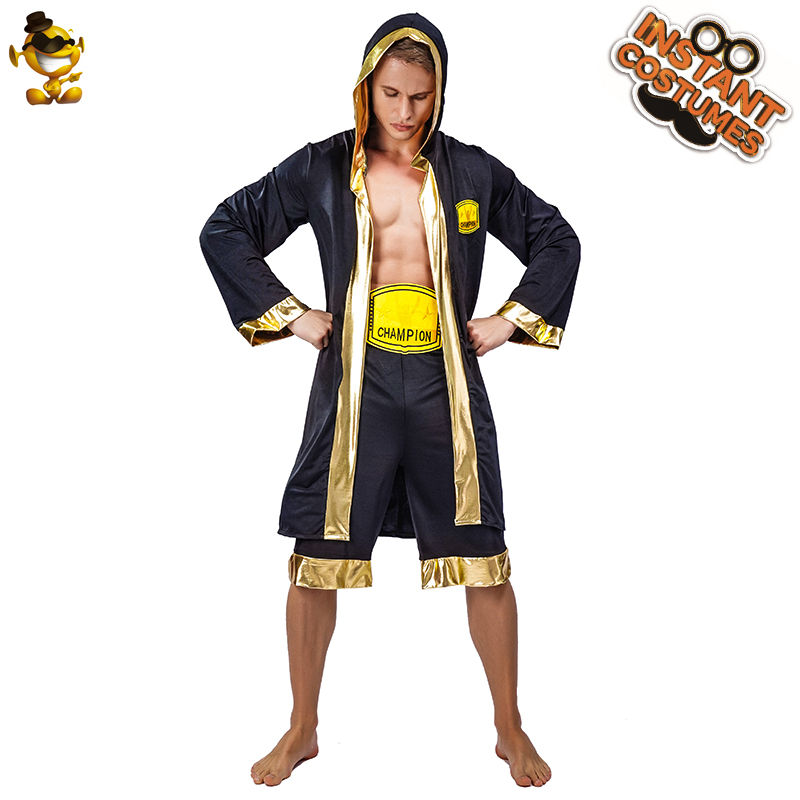 >New Arrival Men's Boxing <font><b>Champion</b></font> <font><b>Outfits</b></font> Role Play Adult Man Boxer Clothes Party Costumes