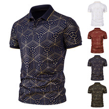 Male Short Sleeve Tee Mens Summer Casual Daily Business Lapel T-shirt High Quality Men Fashion
