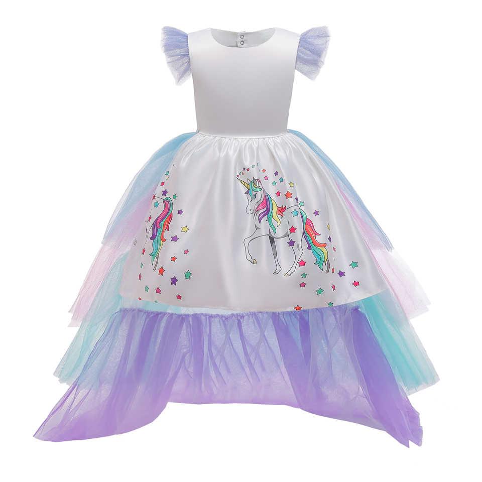 Fancy Meisje Kleurrijke Floor Lengte Eenhoorn Jurk Voor Kinderen Pruik Halloween Kinderen Prinses Verjaardagsfeestje Tiered Tutu Prom Dresses