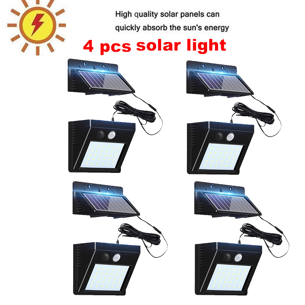 2/4pcs 100/56/30 LED New Solar Powered Light Outdoor Waterproof Garden 3 Mode LED Solar Lamps Pir Motion Sensor Security Wall La