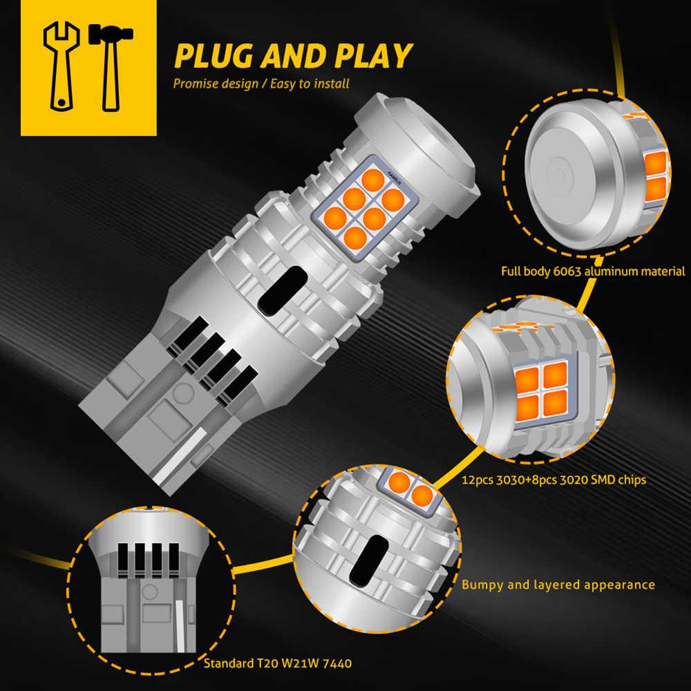 Ampoules, 2x ampoules, T20, W21W, WY21W, 7440, 7440NA clignotant LED, Canbus sans erreur, pas d'hyper Flash, 2800lumen, ambre, jaune, blanc, rouge