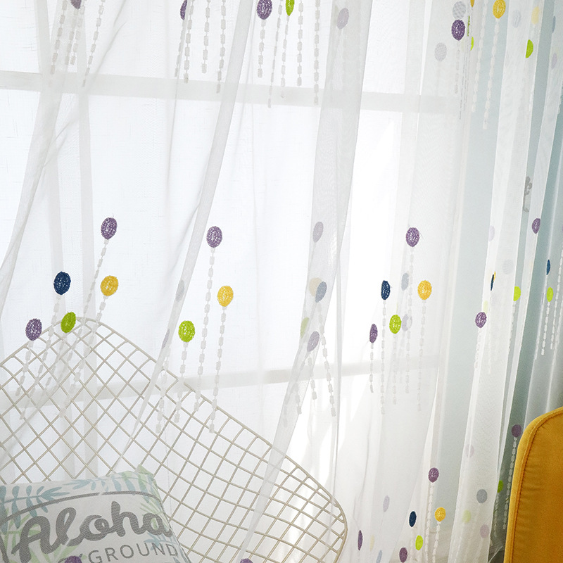 Colorful Bubble Embroidery Curtain French Window Pastoral Sheer Curtains Tulle Living Room Bedroom Kids Modern Children T309#4