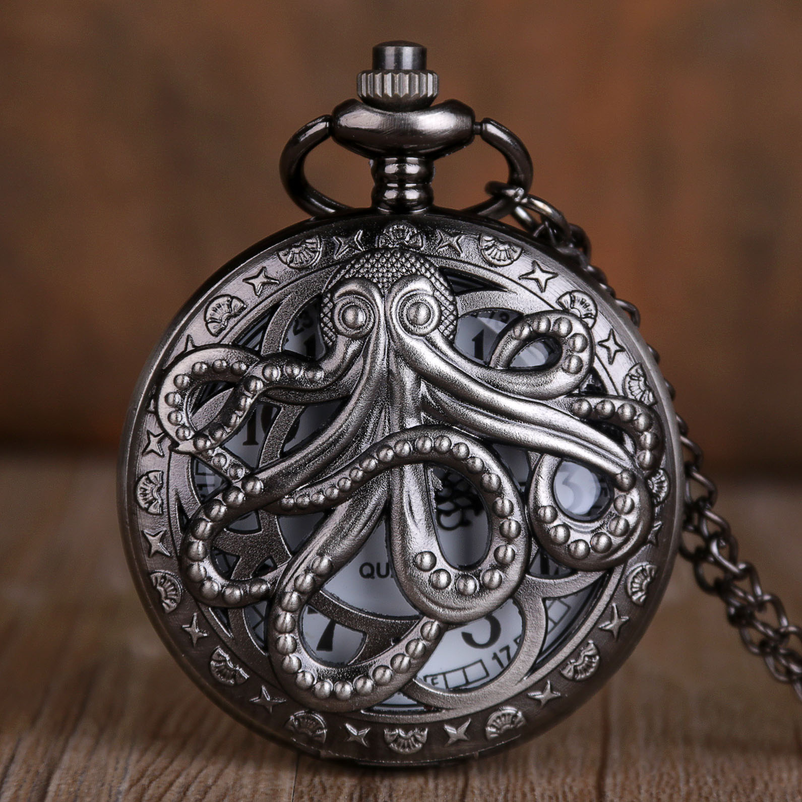 New Arrival Octopus Hollow Half Hunter Quartz Pocket Watch Vintage Black Pocket Watch With Necklace Chain Gift For Kid Men Women