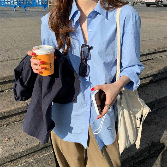 2021 Spring Summer Women Blouse Korean Long Sleeve Womens Tops Blouses  Solid Loose Women Shirts Blusas Roupa Feminina Tops 2