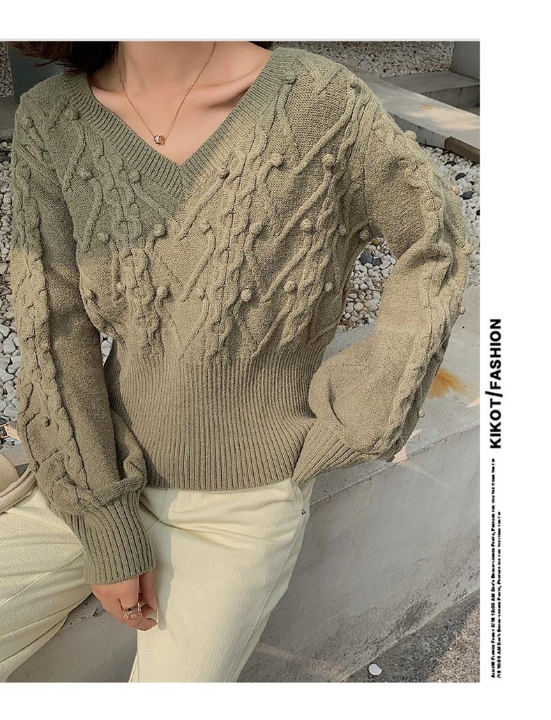2020 WOMEN  New Thick Wool Elegant Fashion Twist V-neck Wool Ball Short Lantern Sleeve Sweater Sweater Women