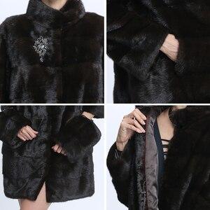 Image 5 - Real Fur Mink Coat Women Winter Mink Coats Female Natural Fur Coat Genuine Mink Fur Jacket Ladies Oversize Detachable Long Black