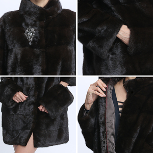 Image 5 - Véritable fourrure vison manteau femmes hiver vison manteaux femme naturel fourrure manteau véritable vison fourrure veste dames surdimensionné détachable Long noir