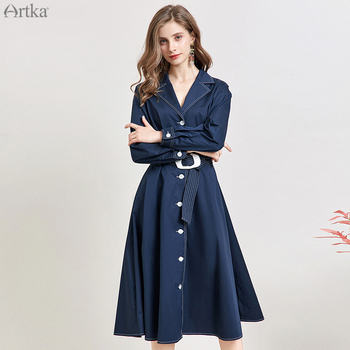 ARTKA 2019 Autumn Women Trench Coat Fashion Turn-down Collar Long Coat With Belt Single Breasted Trench Coat For Women LA11099C фото