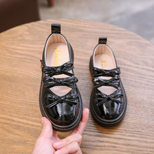 New Girls Princess Shoes Leather Dress Shoes Kids Bowtie Whi