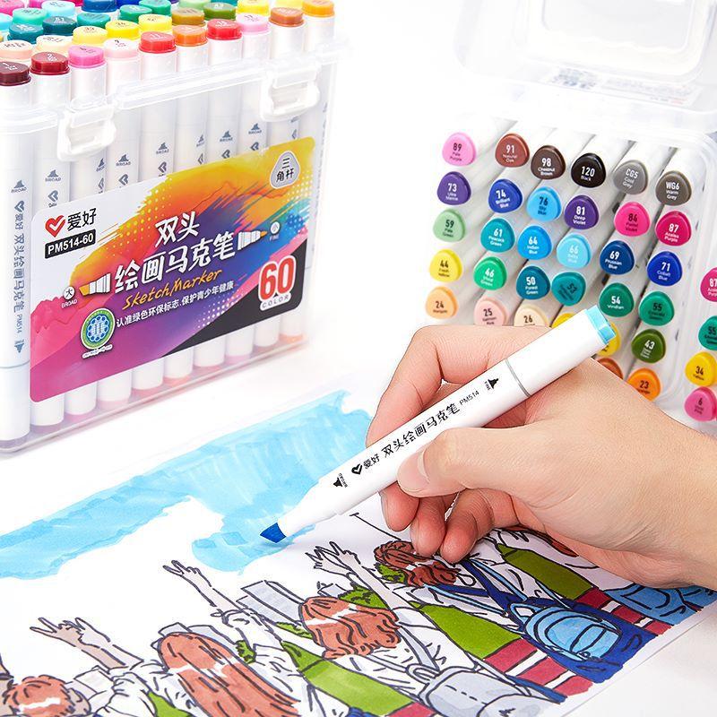 Double Watercolor Marker 12 / 24 / 36 / 48 / 60 Colors Water Color Pen Painting Childrens Hand-painted Color Pen Oil Pencil